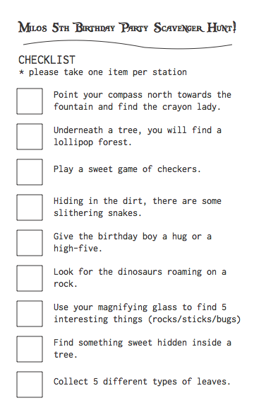 5th b-day scavenger hunt list